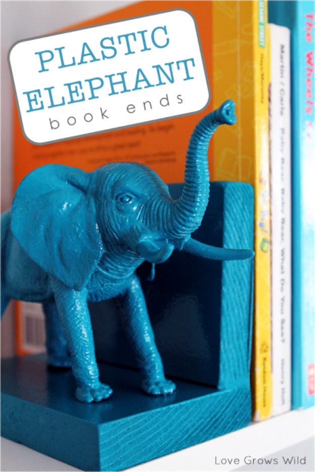 Easy Dollar Store Crafts - Plastic Elephant Bookends - Quick And Cheap Crafts To Make, Dollar Store Craft Ideas To Make And Sell, Cute Dollar Store Do It Yourself Projects, Cheap Craft Ideas, Dollar store Decor,