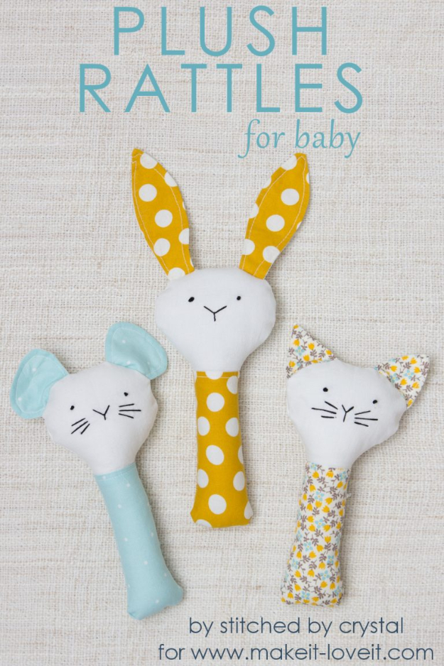 51 Things to Sew for Baby - Plush Rattles - Cool Gifts For Baby, Easy Things To Sew And Sell, Quick Things To Sew For Baby, Easy Baby Sewing Projects For Beginners, Baby Items To Sew And Sell #baby #diy #diygifts