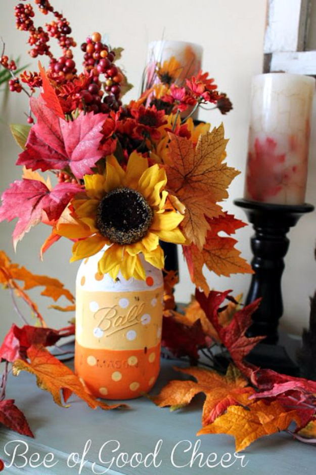 Best Mason Jar Crafts for Fall - Polka Dot Candy Corn Mason Jar - DIY Mason Jar Ideas for Centerpieces, Wedding Decorations, Homemade Gifts, Craft Projects with Leaves, Flowers and Burlap, Painted Art, Candles and Luminaries for Cool Home Decor