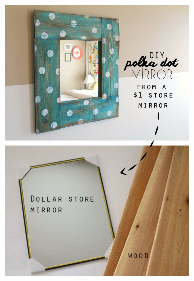 Easy Dollar Store Crafts - Polka Dot Mirror - Quick And Cheap Crafts To Make, Dollar Store Craft Ideas To Make And Sell, Cute Dollar Store Do It Yourself Projects, Cheap Craft Ideas, Dollar store Decor,