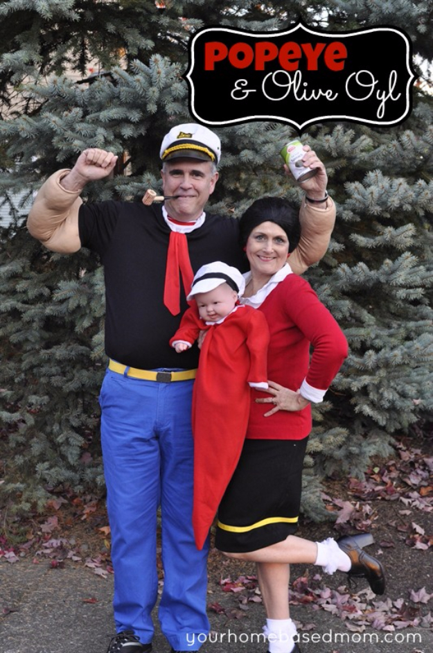 Best DIY Halloween Costume Ideas - Popeye And Olive Oyl - Do It Yourself Costumes for Women, Men, Teens, Adults and Couples. Fun, Easy, Clever, Cheap and Creative Costumes That Will Win The Contest