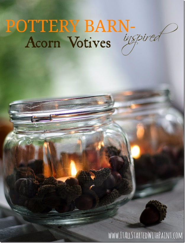Best Mason Jar Crafts for Fall - Pottery Barn Inspired Acorn Votives - DIY Mason Jar Ideas for Centerpieces, Wedding Decorations, Homemade Gifts, Craft Projects with Leaves, Flowers and Burlap, Painted Art, Candles and Luminaries for Cool Home Decor
