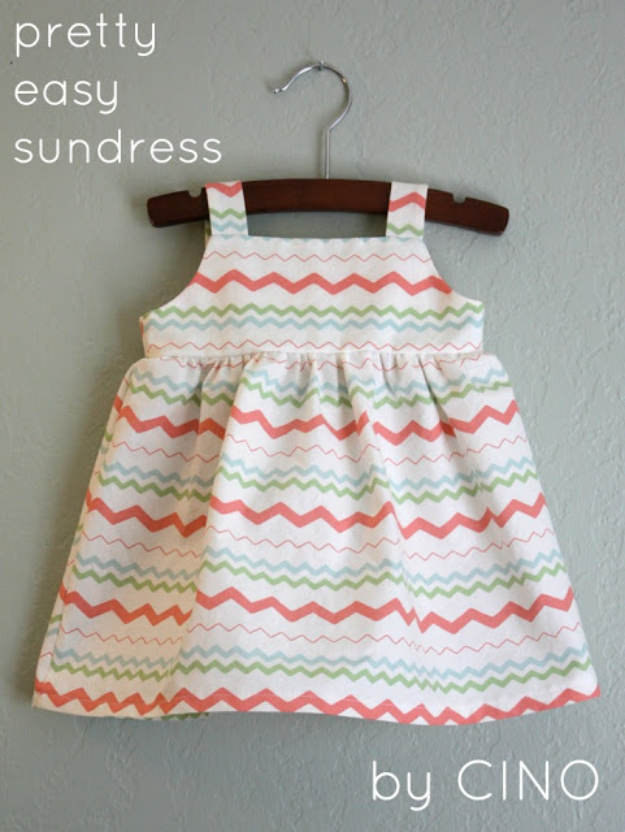 DIY Gifts for Babies - Pretty Easy Baby Sundress - Best DIY Gift Ideas for Baby Boys and Girls - Creative Projects to Sew, Make and Sell, Gift Baskets, Diaper Cakes and Presents for Baby Showers and New Parents. Cool Christmas and Birthday Ideas #diy #babygifts #diygifts #baby