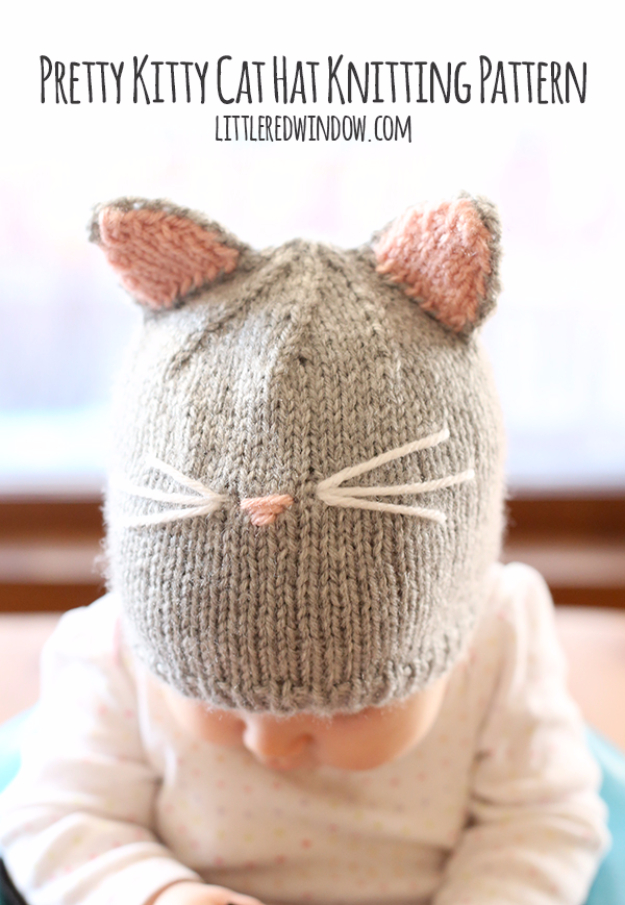 38 Easy Knitting Ideas -Knit Kitty Hat for Kids- DIY Knitting Ideas For Beginners, Cute Knit Projects, Knitting Ideas And Patterns, Easy Knitting Crafts, Gifts You Can Knit#diy #knitting