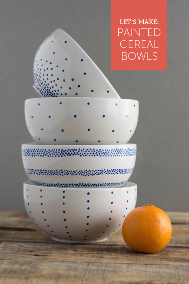 DIY Projects With Old Plates and Dishes - Pretty Painted Cereal Bowls - Creative Home Decor for Rustic, Vintage and Farmhouse Looks. Upcycle With These Best Crafts and Project Tutorials #diy #kitchen #crafts