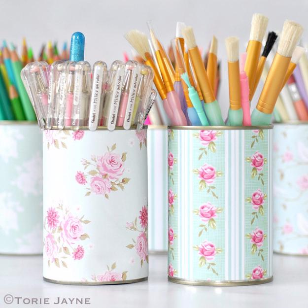 Easy Dollar Store Crafts - Pretty Pen Pots - Quick And Cheap Crafts To Make, Dollar Store Craft Ideas To Make And Sell, Cute Dollar Store Do It Yourself Projects, Cheap Craft Ideas, Dollar store Decor,