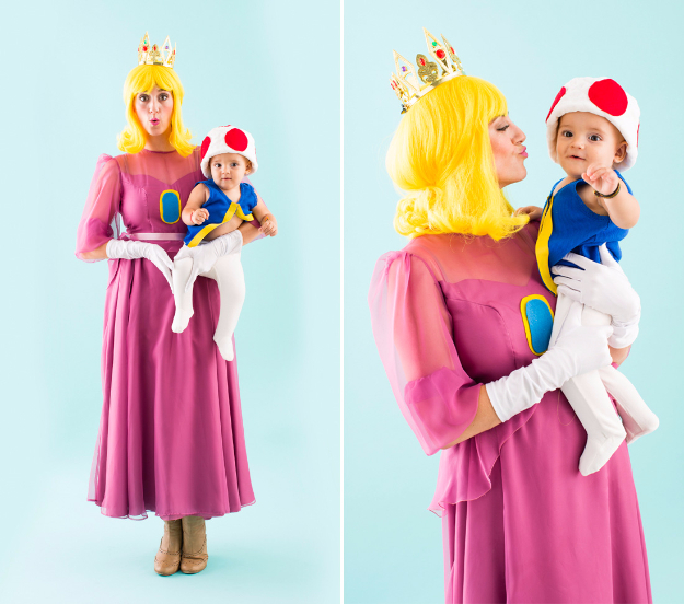 Best DIY Halloween Costume Ideas - Princess Peach And Toad - Do It Yourself Costumes for Women, Men, Teens, Adults and Couples. Fun, Easy, Clever, Cheap and Creative Costumes That Will Win The Contest