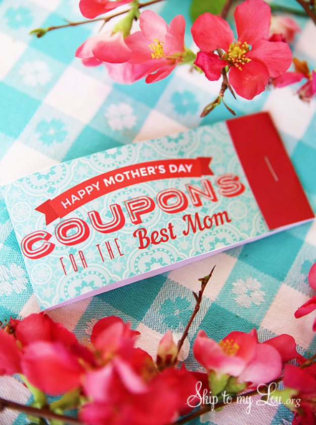 DIY Gifts for Mom - Printable Coupons For Mom - Best Craft Projects and Gift Ideas You Can Make for Your Mother - Last Minute Presents for Birthday and Christmas - Creative Photo Projects, Bath Ideas, Gift Baskets and Thoughtful Things to Give Mothers and Moms #diygifts #giftsformom