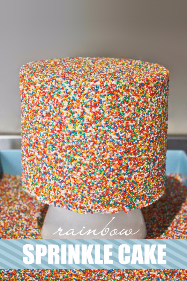 41 Best Homemade Birthday Cake Recipes - Rainbow Sprinkle Cake - Birthday Cake Recipes From Scratch, Delicious Birthday Cake Recipes To Make, Quick And Easy Birthday Cake Recipes, Awesome Birthday Cake Ideas