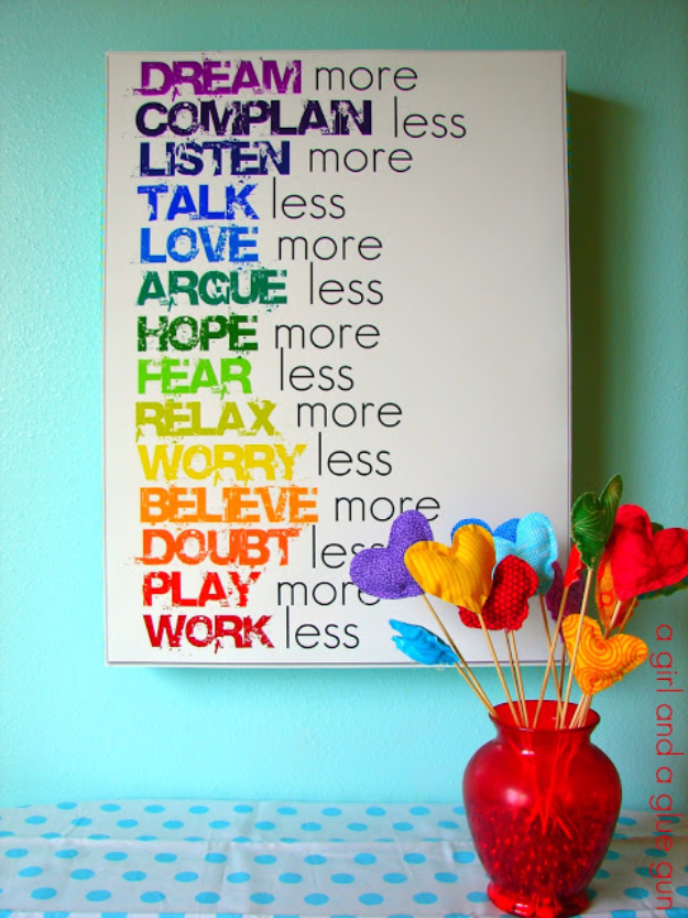 42 DIY Room Decor For Girls   Rainbow Text Wall Art   Awesome Do It Yourself