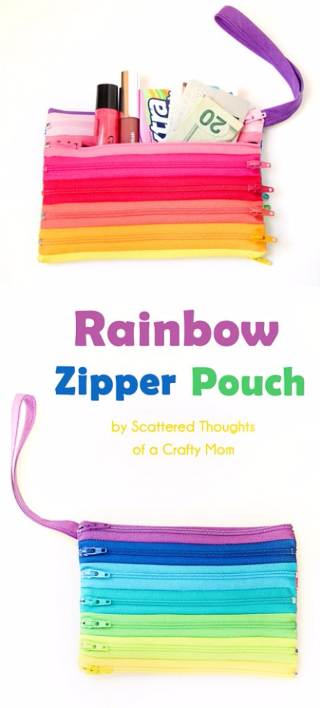Quick DIY Gifts You Can Sew - Rainbow Zipper Pouch - Best Sewing Projects for Gift Giving and Simple Handmade Presents - Free Sewing Patterns Easy #sewing #diygifts