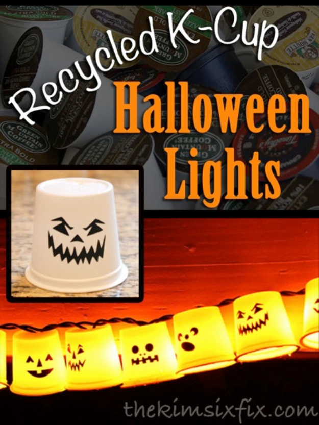 DIY Halloween Decorations - Recycled K-Cup Halloween Lights - Best Easy, Cheap and Quick Halloween Decor Ideas and Crafts for Inside and Outside Your Home - Scary, Creepy Cute and Fun Outdoor Project Tutorials http://diyjoy.com/cheap-diy-halloween-decorations
