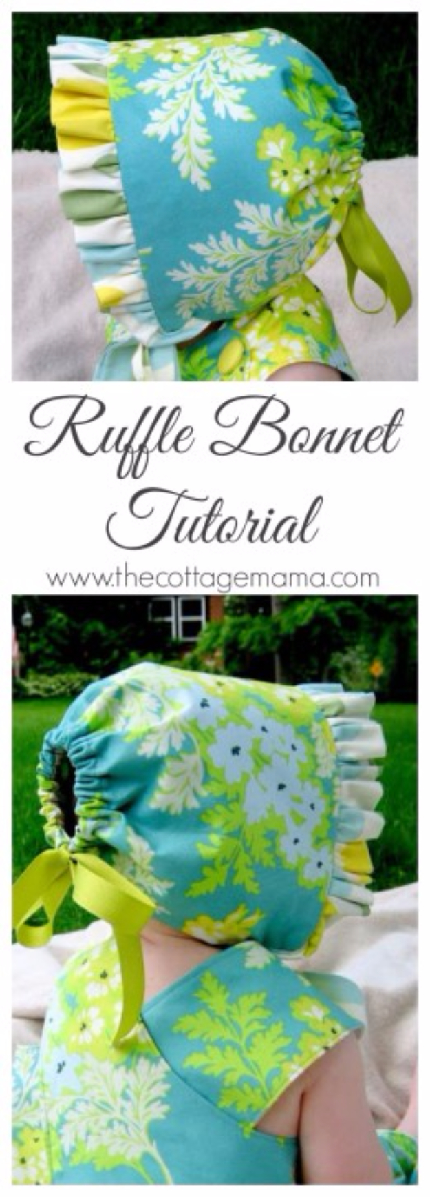 51 Things to Sew for Baby - Ruffle Bonnet Tutorial - Cool Gifts For Baby, Easy Things To Sew And Sell, Quick Things To Sew For Baby, Easy Baby Sewing Projects For Beginners, Baby Items To Sew And Sell #baby #diy #diygifts