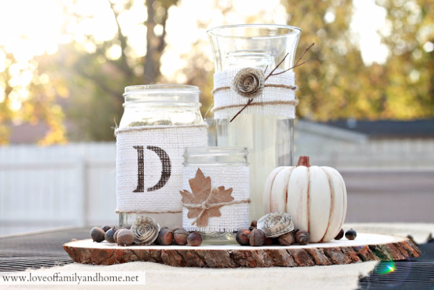 Best Mason Jar Crafts for Fall -Rustic Fall Centerpiece Tutorial - DIY Mason Jar Ideas for Centerpieces, Wedding Decorations, Homemade Gifts, Craft Projects with Leaves, Flowers and Burlap, Painted Art, Candles and Luminaries for Cool Home Decor