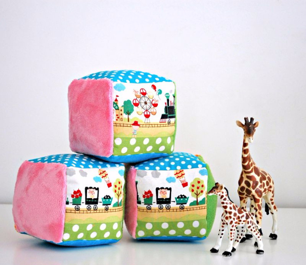 51 Things to Sew for Baby - Soft Rattle Blocks For Babies - Cool Gifts For Baby, Easy Things To Sew And Sell, Quick Things To Sew For Baby, Easy Baby Sewing Projects For Beginners, Baby Items To Sew And Sell #baby #diy #diygifts