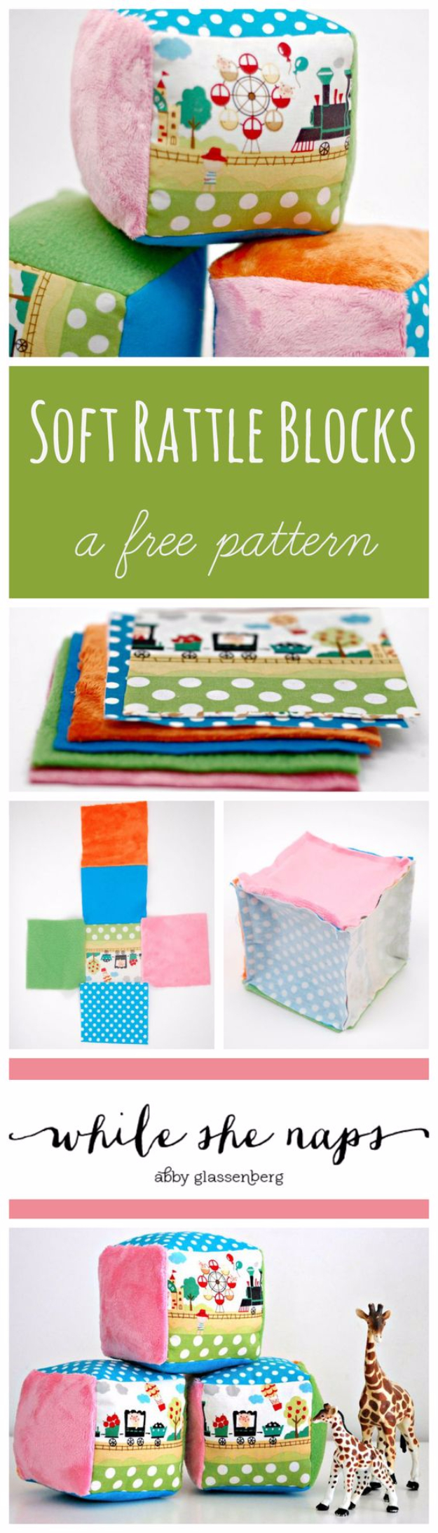 DIY Gifts for Babies - Soft Rattle Blocks - Best DIY Gift Ideas for Baby Boys and Girls - Creative Projects to Sew, Make and Sell, Gift Baskets, Diaper Cakes and Presents for Baby Showers and New Parents. Cool Christmas and Birthday Ideas #diy #babygifts #diygifts #baby