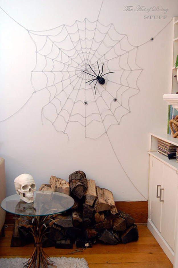 DIY Halloween Decorations - Spiderweb Wall Decorations - Best Easy, Cheap and Quick Halloween Decor Ideas and Crafts for Inside and Outside Your Home - Scary, Creepy Cute and Fun Outdoor Project Tutorials
