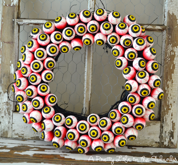 DIY Halloween Decorations - Spooky Eyeball Wreath - Best Easy, Cheap and Quick Halloween Decor Ideas and Crafts for Inside and Outside Your Home - Scary, Creepy Cute and Fun Outdoor Project Tutorials http://diyjoy.com/cheap-diy-halloween-decorations