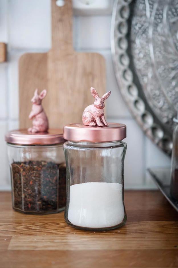 33 Cool DIYs With Spray Paint - Spray Painted Bunny Canister Lids - Easy Spray Paint Decor, Fun Do It Yourself Spray Paint Ideas, Cool Spray Paint Projects To Try, Upcycled And Repurposed, Restore Old Items With Spray Paint