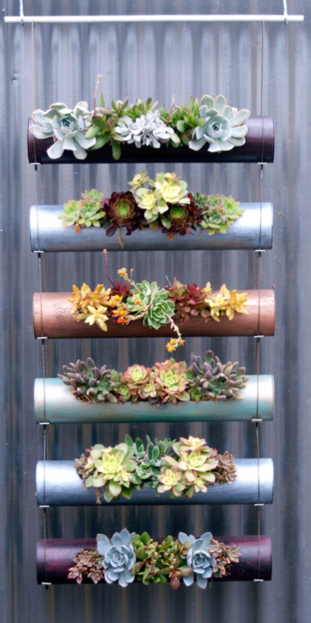 33 Cool DIYs With Spray Paint - Spray Painted PVC Pipe Vertical Garden - Easy Spray Paint Decor, Fun Do It Yourself Spray Paint Ideas, Cool Spray Paint Projects To Try, Upcycled And Repurposed, Restore Old Items With Spray Paint