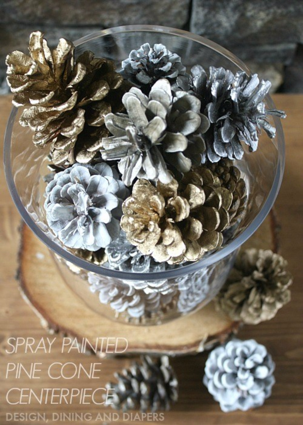 33 Cool DIYs With Spray Paint - Spray Painted Pinecone Centerpiece - Easy Spray Paint Decor, Fun Do It Yourself Spray Paint Ideas, Cool Spray Paint Projects To Try, Upcycled And Repurposed, Restore Old Items With Spray Paint