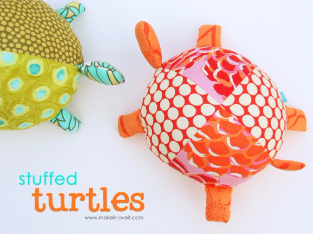 DIY Gifts for Babies - Stuffed Fabric Turtles - Best DIY Gift Ideas for Baby Boys and Girls - Creative Projects to Sew, Make and Sell, Gift Baskets, Diaper Cakes and Presents for Baby Showers and New Parents. Cool Christmas and Birthday Ideas http://diyjoy.com/diy-gifts-for-baby