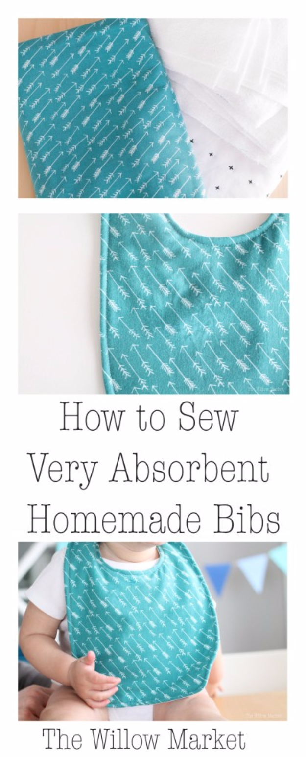 51 Things to Sew for Baby - Super Absorbent Homemade Bibs - Cool Gifts For Baby, Easy Things To Sew And Sell, Quick Things To Sew For Baby, Easy Baby Sewing Projects For Beginners, Baby Items To Sew And Sell #baby #diy #diygifts