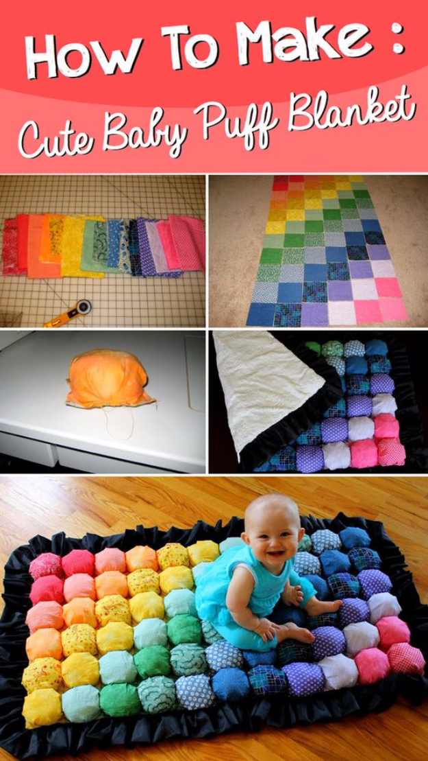 DIY Gifts for Babies - Super Cute Baby Puff Blanket - Best DIY Gift Ideas for Baby Boys and Girls - Creative Projects to Sew, Make and Sell, Gift Baskets, Diaper Cakes and Presents for Baby Showers and New Parents. Cool Christmas and Birthday Ideas #diy #babygifts #diygifts #baby