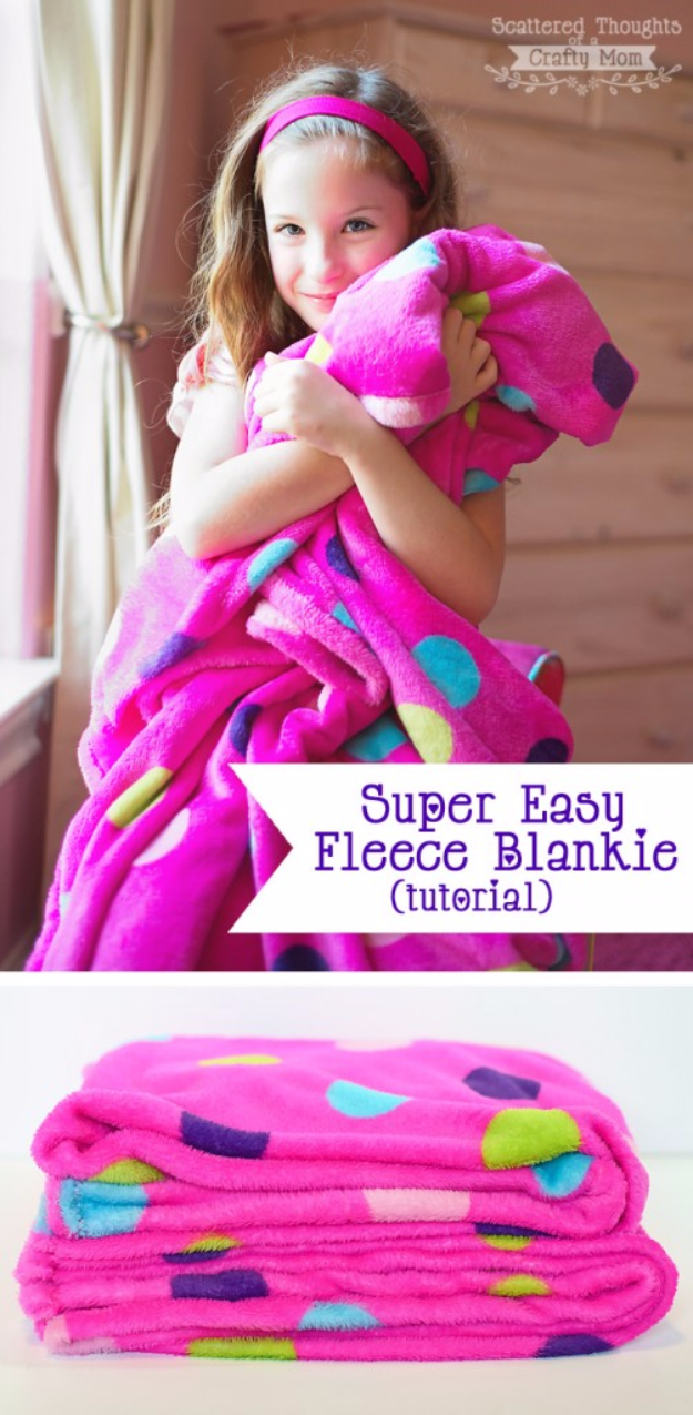 51 Things to Sew for Baby - Super Easy Fleece Blanket - Cool Gifts For Baby, Easy Things To Sew And Sell, Quick Things To Sew For Baby, Easy Baby Sewing Projects For Beginners, Baby Items To Sew And Sell #baby #diy #diygifts
