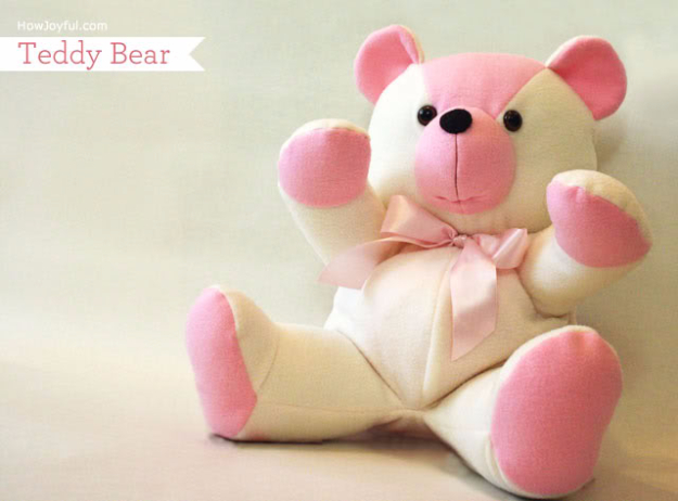DIY Gifts for Babies - Teddy Bear Tutorial - Best DIY Gift Ideas for Baby Boys and Girls - Creative Projects to Sew, Make and Sell, Gift Baskets, Diaper Cakes and Presents for Baby Showers and New Parents. Cool Christmas and Birthday Ideas  #diy #babygifts #diygifts #baby