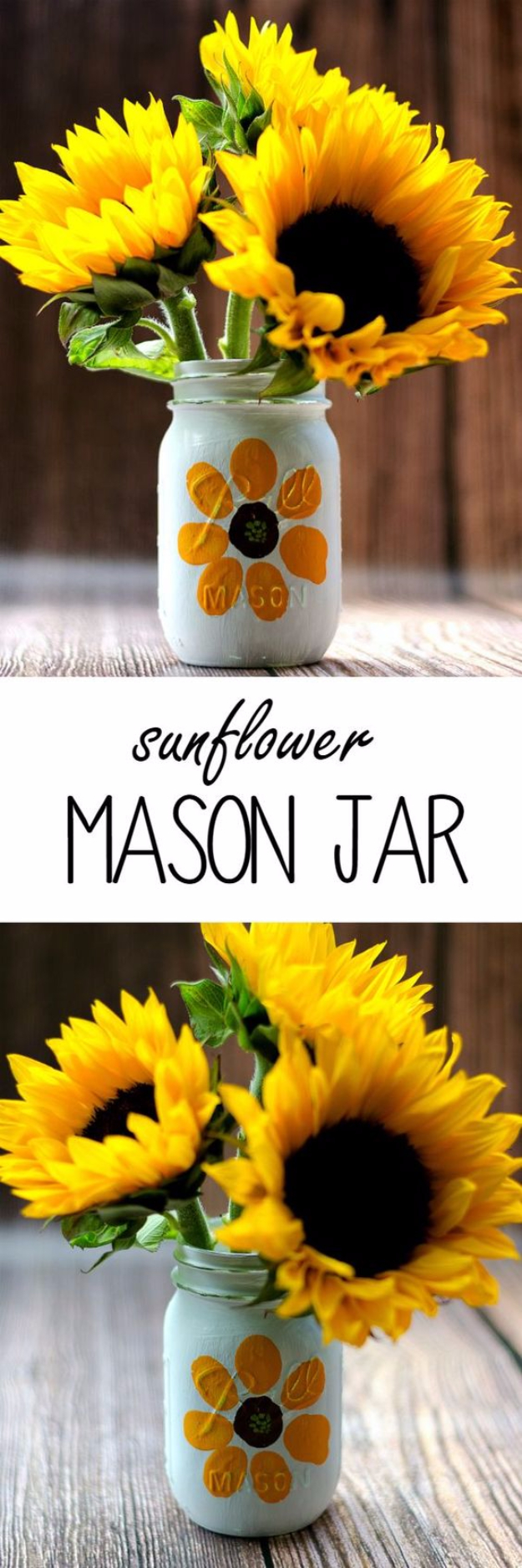 Mason Jar Crafts You Can Make In Under an Hour - Thumbprint Sunflower Mason Jar - Quick Mason Jar DIY Projects that Make Cool Home Decor and Awesome DIY Gifts - Best Creative Ideas for Mason Jars with Step By Step Tutorials and Instructions - For Teens, For Home, For Gifts, For Kids, For Summer, For Fall #masonjarcrafts #easycrafts