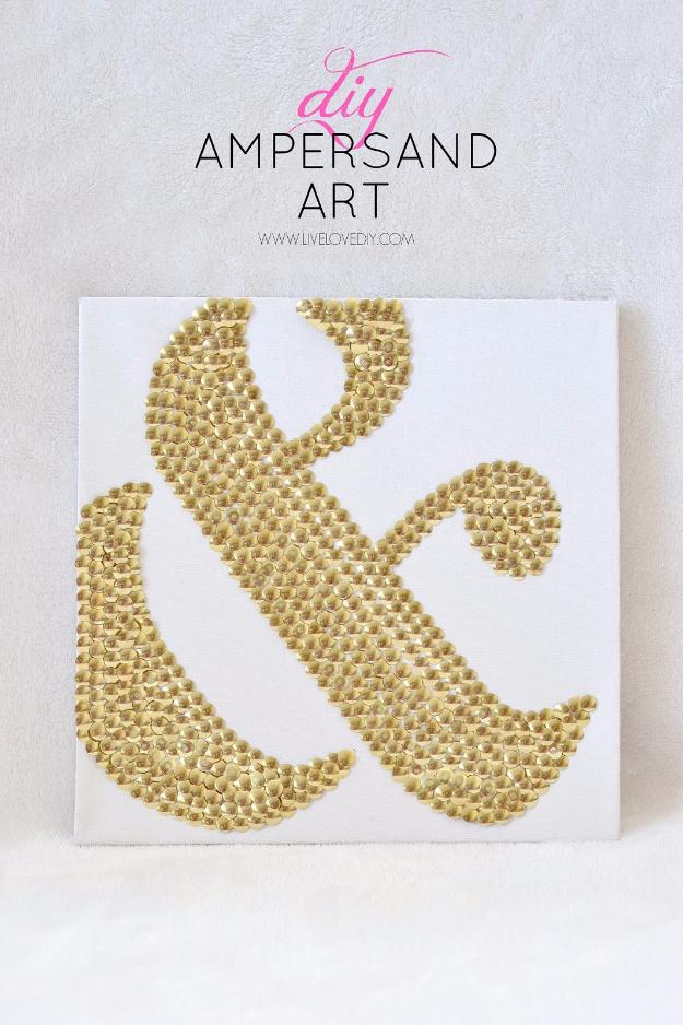 Easy Dollar Store Crafts - Thumbtacks Ampersand Art - Quick And Cheap Crafts To Make, Dollar Store Craft Ideas To Make And Sell, Cute Dollar Store Do It Yourself Projects, Cheap Craft Ideas, Dollar Sore Decor,