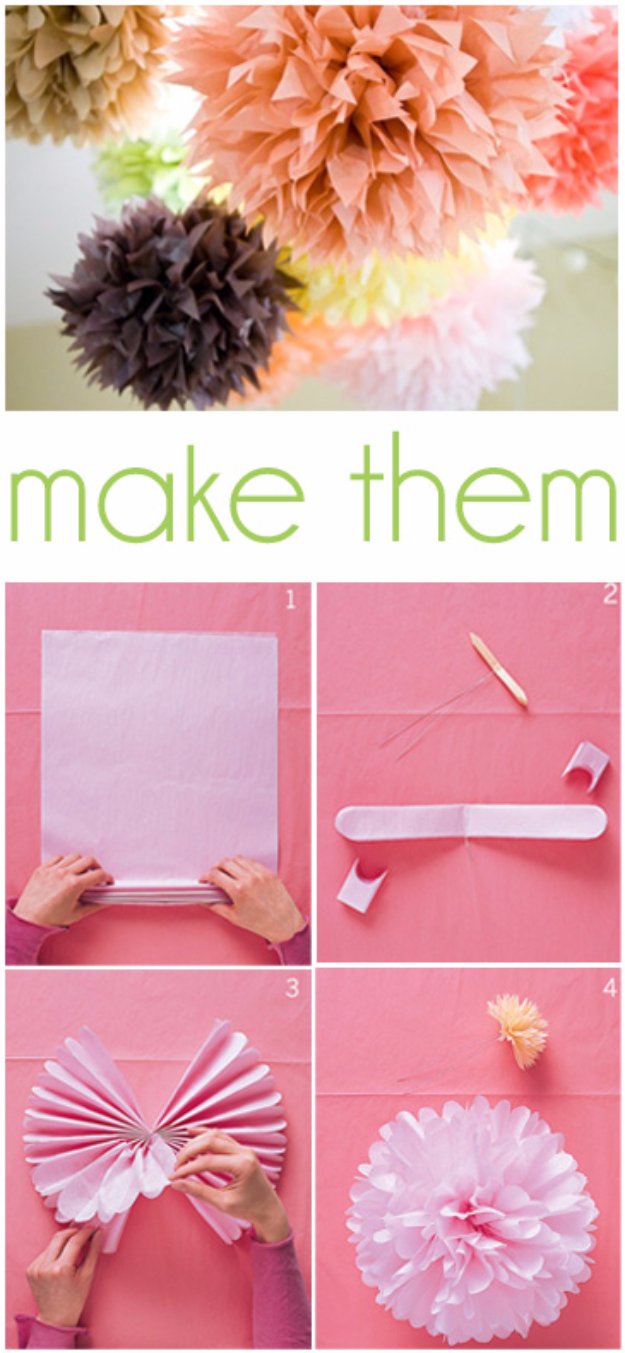 39 Easy DIY Party Decorations - Tissue Paper Pom Poms - Quick And Cheap Party Decors, Easy Ideas For DIY Party Decor, Birthday Decorations, Budget Do It Yourself Party Decorations #diyparties #party #partydecor #parties