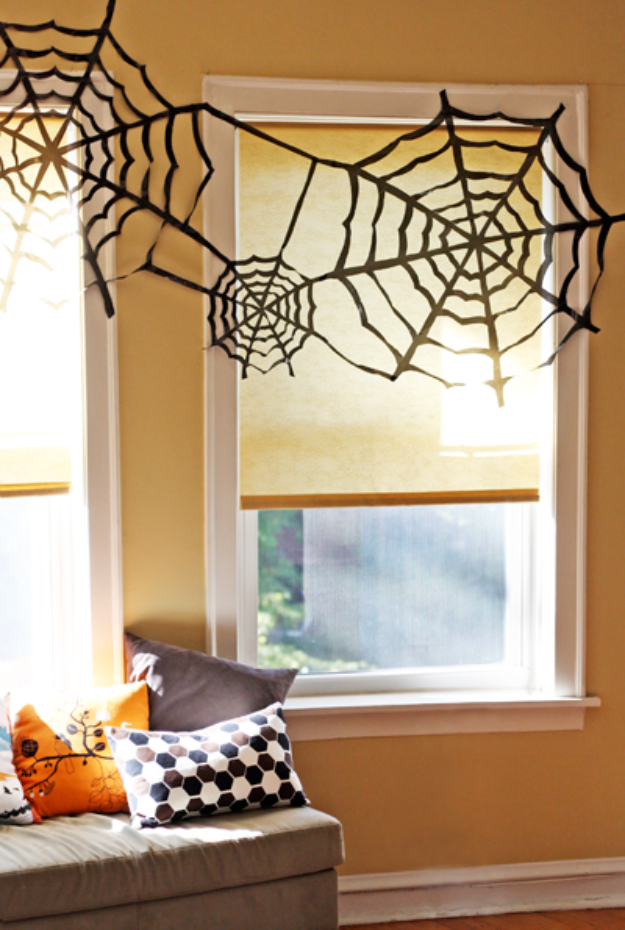DIY Halloween Decorations - Trash Bag Spider Web - Best Easy, Cheap and Quick Halloween Decor Ideas and Crafts for Inside and Outside Your Home - Scary, Creepy Cute and Fun Outdoor Project Tutorials