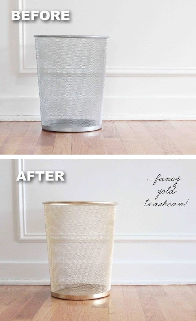 33 Cool DIYs With Spray Paint - Trash Can Makeover - Easy Spray Paint Decor, Fun Do It Yourself Spray Paint Ideas, Cool Spray Paint Projects To Try, Upcycled And Repurposed, Restore Old Items With Spray Paint