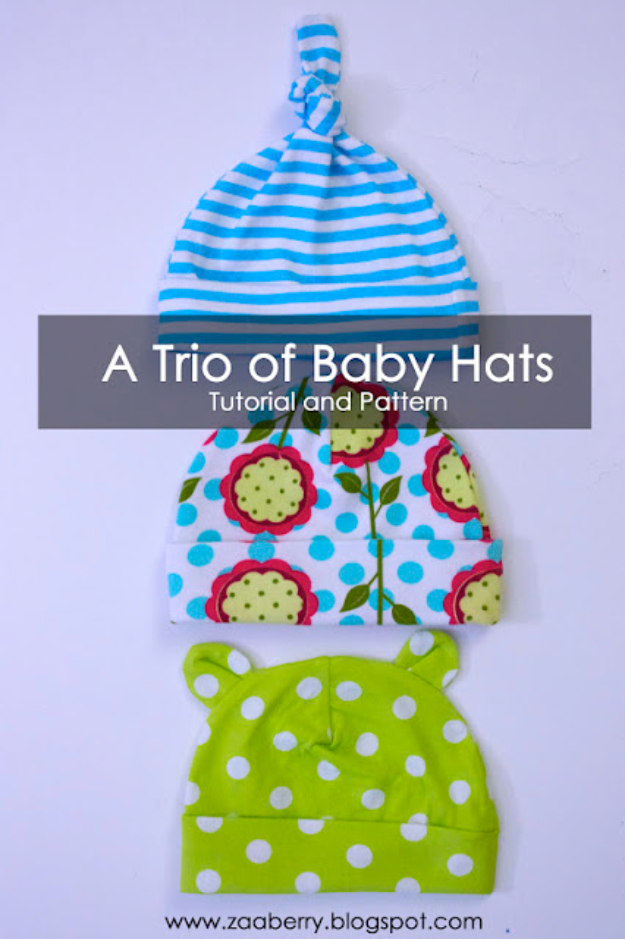 DIY Gifts for Babies - Trio Of Baby Hats - Best DIY Gift Ideas for Baby Boys and Girls - Creative Projects to Sew, Make and Sell, Gift Baskets, Diaper Cakes and Presents for Baby Showers and New Parents. Cool Christmas and Birthday Ideas http://diyjoy.com/diy-gifts-for-baby