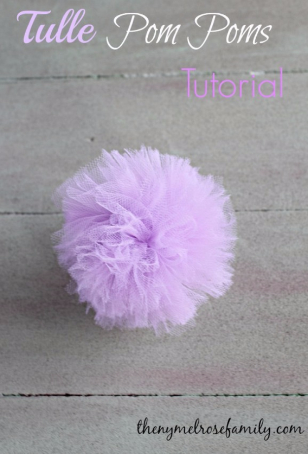 39 Easy DIY Party Decorations - Tulle Pom Poms - Quick And Cheap Party Decors, Easy Ideas For DIY Party Decor, Birthday Decorations, Budget Do It Yourself Party Decorations #diyparties #party #partydecor #parties