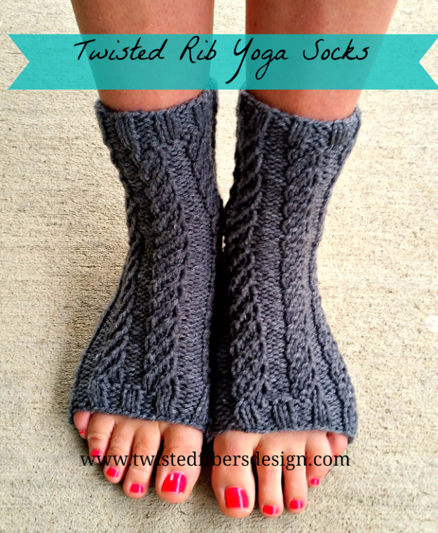 32 Easy Knitted Gifts - Twisted Rib Yoga Socks - Last Minute Knitted Gifts, Best Knitted Gifts For Anyone, Easy Knitted Gifts To Make, Knitted Gifts For Friends, Easy Knitting Patterns For Beginners, Quick Knitting Ideas #knitting #gifts #diygifts