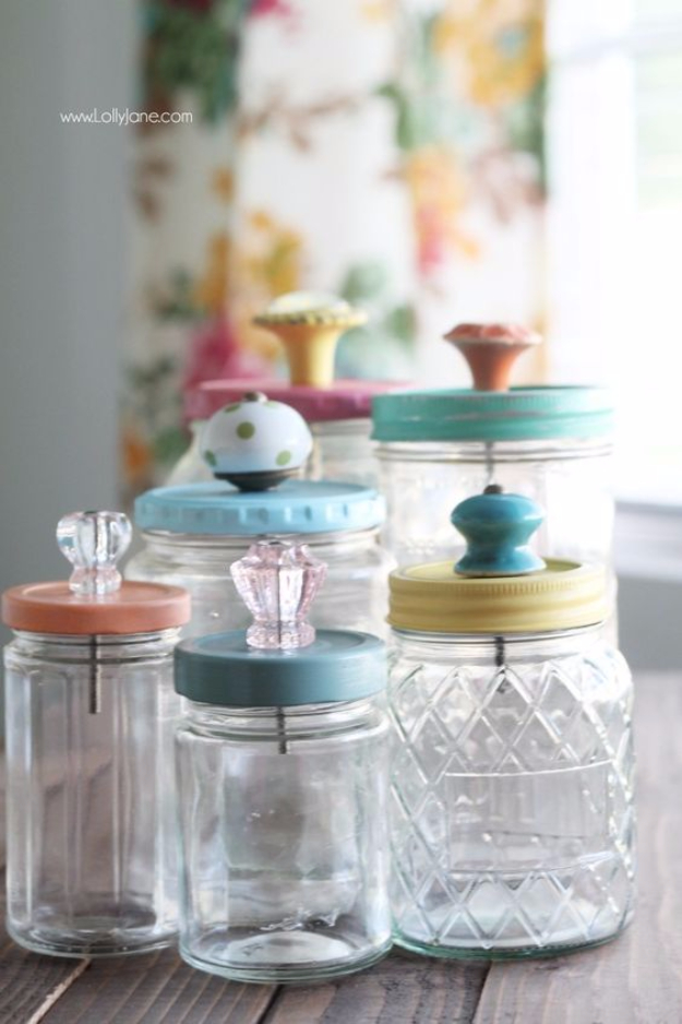 Mason Jar Crafts You Can Make In Under an Hour - Upcycled Mason Jar With Pretty Glass Knob Tops- Quick Mason Jar DIY Projects that Make Cool Home Decor and Awesome DIY Gifts - Best Creative Ideas for Mason Jars with Step By Step Tutorials and Instructions - For Teens, For Home, For Gifts, For Kids, For Summer, For Fall #masonjarcrafts #easycrafts
