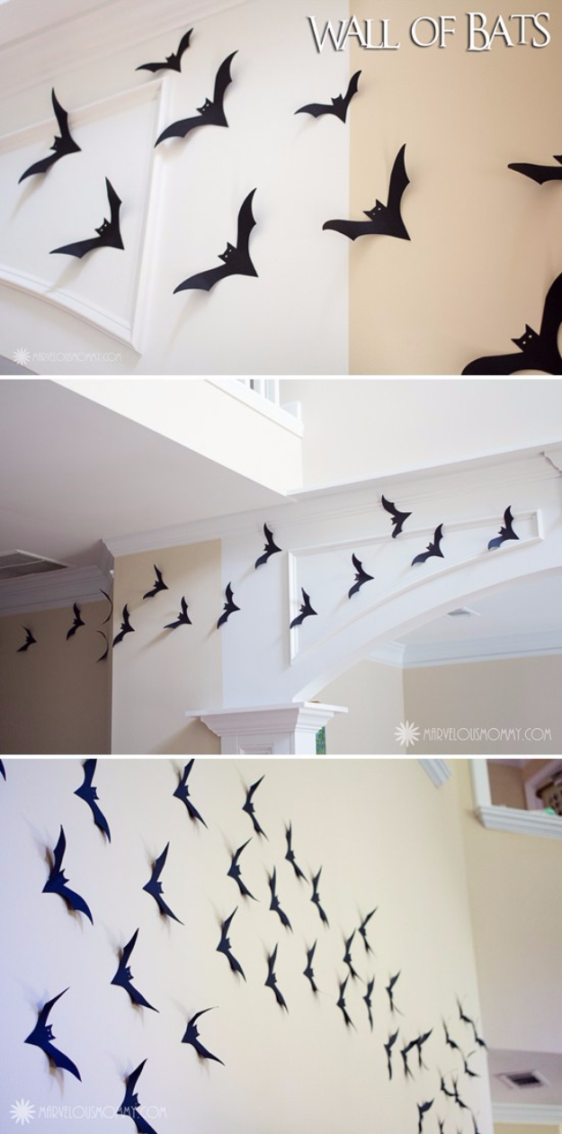 DIY Halloween Decorations - Wall Of Bats - Best Easy, Cheap and Quick Halloween Decor Ideas and Crafts for Inside and Outside Your Home - Scary, Creepy Cute and Fun Outdoor Project Tutorials http://diyjoy.com/cheap-diy-halloween-decorations