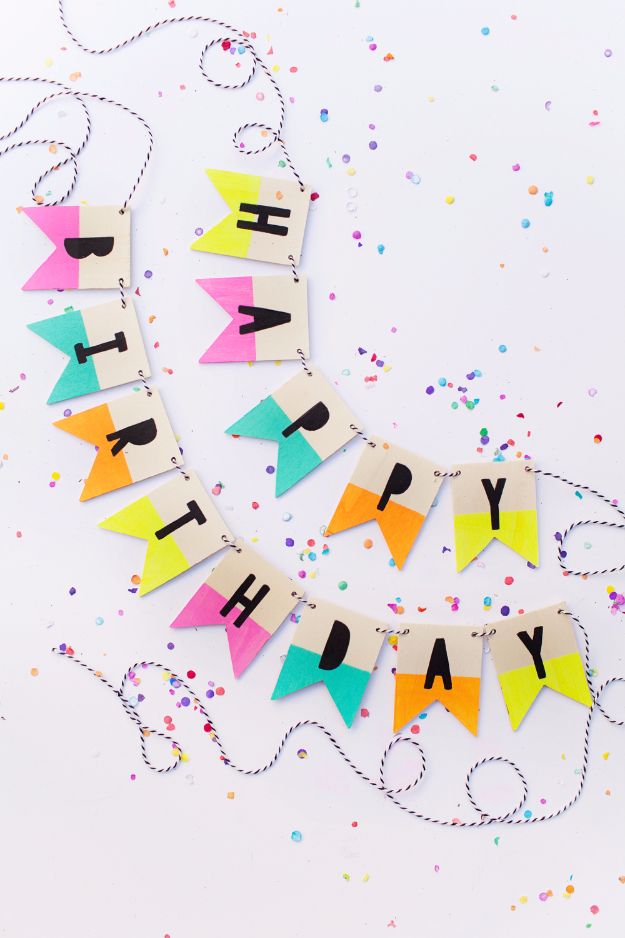 39 Easy DIY Party Decorations - Wood Birthday Banner - Quick And Cheap Party Decors, Easy Ideas For DIY Party Decor, Birthday Decorations, Budget Do It Yourself Party Decorations #diyparties #party #partydecor #parties