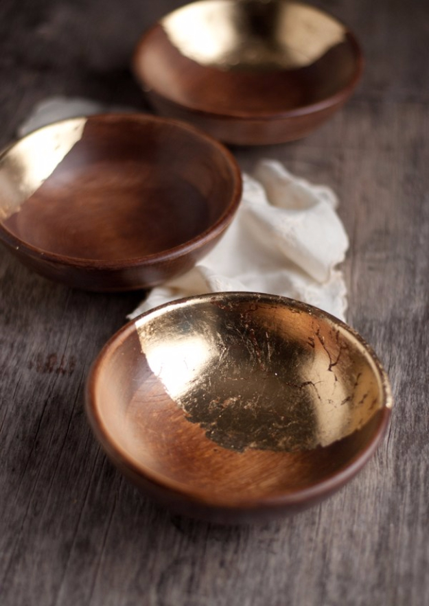 DIY Projects With Old Plates and Dishes - Wooden Bowls With Gold Leaf - Creative Home Decor for Rustic, Vintage and Farmhouse Looks. Upcycle With These Best Crafts and Project Tutorials #diy #kitchen #crafts