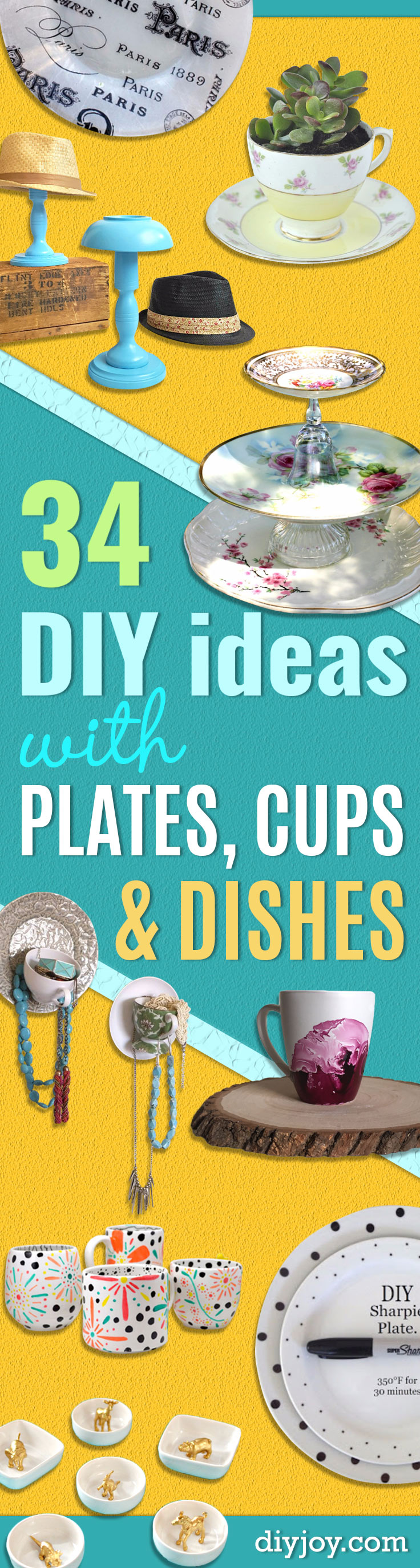 DIY Projects With Old Plates and Dishes -Creative Home Decor for Rustic, Vintage and Farmhouse Looks. Upcycle With These Best Crafts and Project Tutorials http://diyjoy.com/diy-projects-plates-dishes