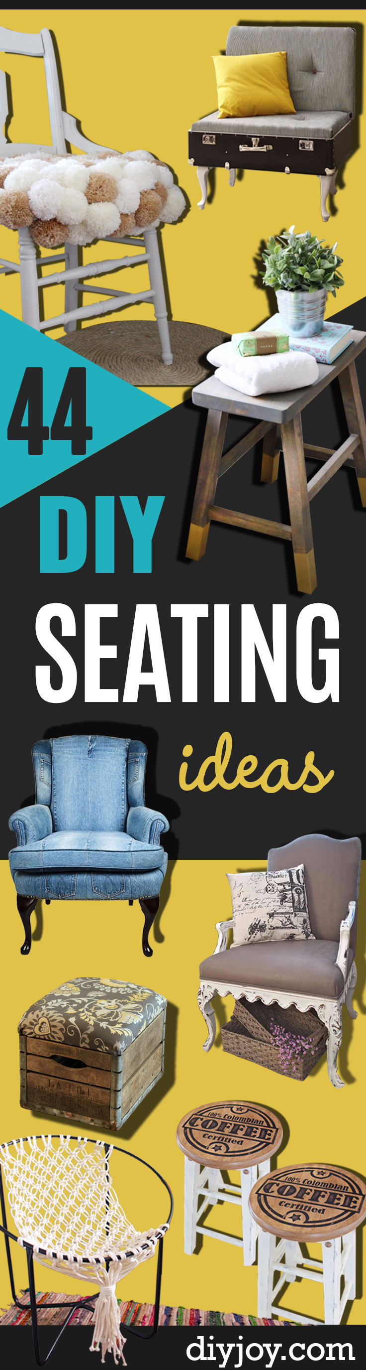 DIY Seating Ideas - Creative Indoor Furniture, Chairs and Easy Seat Projects for Living Room, Bedroom, Dorm and Kids Room. Cheap Projects for those On A Budget. Tutorials for Cushions, No Sew Covers and Benches