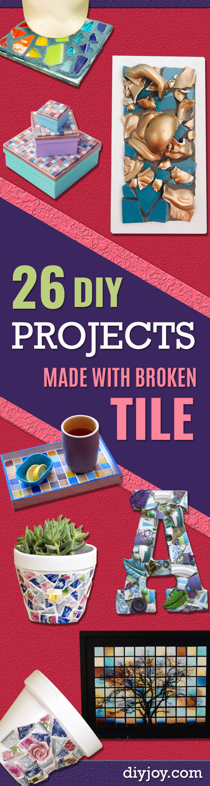 DIY Projects Made With Broken Tile - Best Creative Crafts, Easy DYI Projects You Can Make With Tiles - Mosaic Patterns and Crafty DIY Home Decor Ideas That Make Awesome DIY Gifts and Christmas Presents for Friends and Family