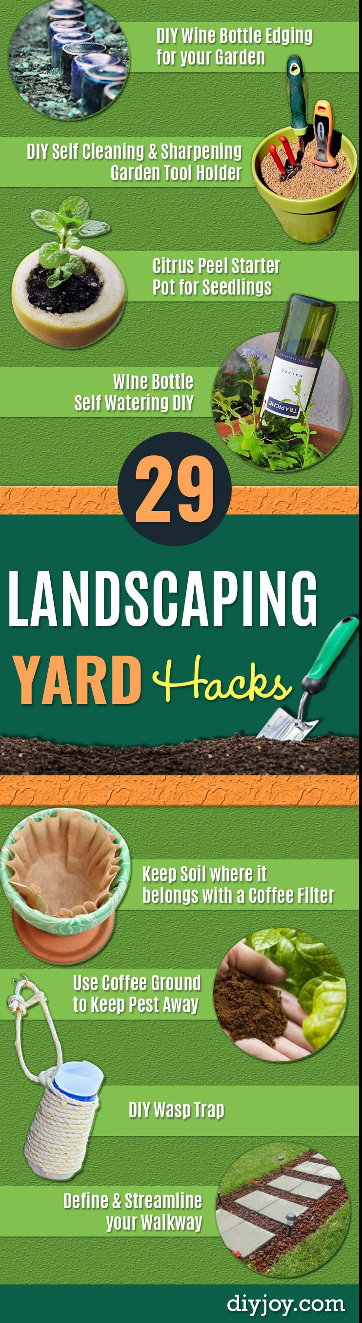 DIY Landscaping Hacks - Easy Ways to Make Your Yard and Home Look Awesome in Fall, Winter, Spring and Fall. Backyard Projects for Beginning Gardeners and Lawns - Tutorials and Step by Step Instructions