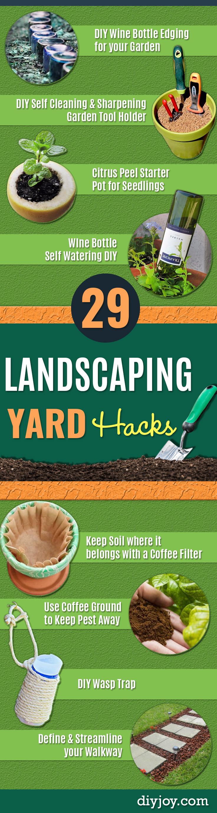 DIY Landscaping Hacks - Easy Ways to Make Your Yard and Home Look Awesome in Fall, Winter, Spring and Fall. Backyard Projects for Beginning Gardeners and Lawns - Tutorials and Step by Step Instructions http://diyjoy.com/landscaping-hacks