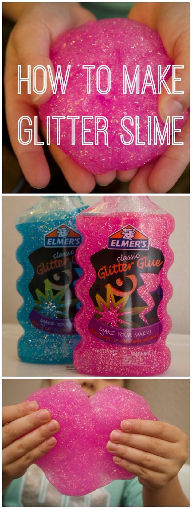 Crafts For Kids To Make At Home - 3-Ingredient Glitter Slime - Cheap DIY Projects and Fun Craft Ideas for Children - Cute Paper Crafts, Fall and Winter Fun, Things For Toddlers, Babies, Boys and Girls #kidscrafts #crafts #kids