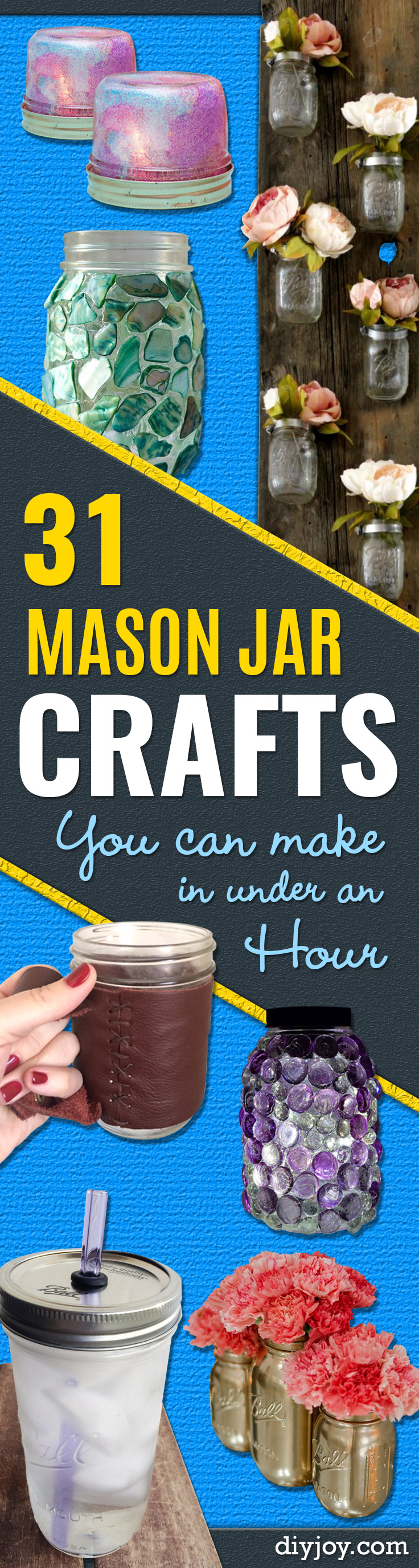 Easy Mason Jar Crafts You Can Make In Under an Hour - Quick Mason Jar DIY Projects for Christmas Gifts that Make Cool Home Decor and Awesome DIY Gifts - Best Creative Ideas for Mason Jars with Step By Step Tutorials and Instructions - For Teens, For Home, For Gifts, For Kids, For Summer, For Fall #masonjarcrafts #easycrafts