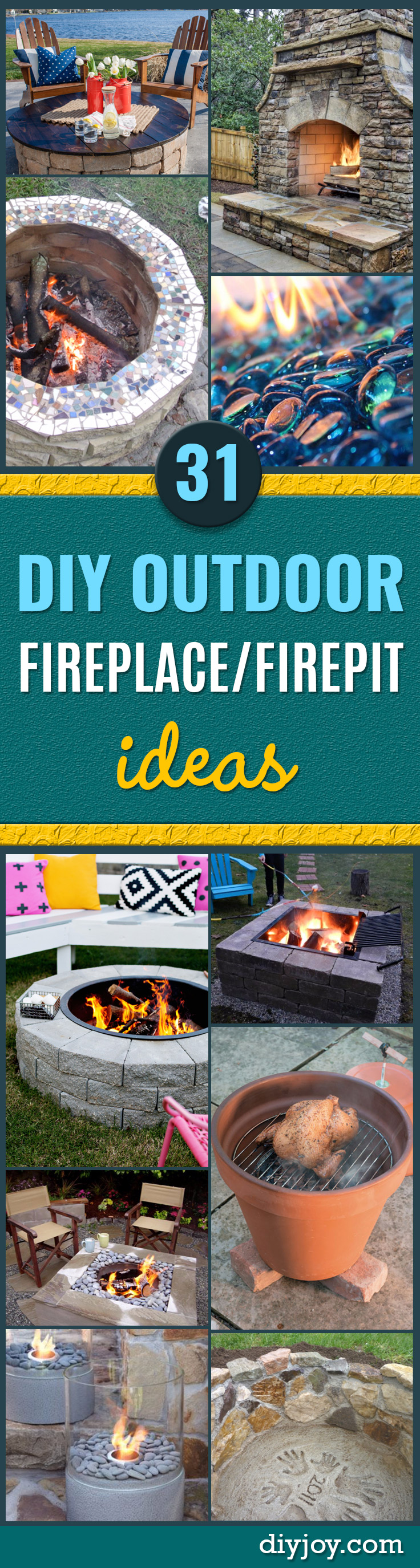 DIY Fireplace Ideas - Do It Yourself Firepit Projects and Fireplaces for Your Yard, Patio, Porch and Home. Outdoor Fire Pit Tutorials for Backyard with Easy Step by Step Tutorials - Cool DIY Projects for Men and Women http://diyjoy.com/diy-fireplace-ideas